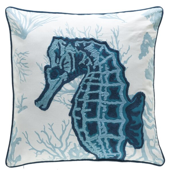 Burley Seahorse Crewel Stitch 100% Cotton Throw Pillow by Highland Dunes